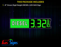 Gas Price LED Sign 8 Inch DIESEL - Green LEDs with 3 Large Digits and fraction digits - Lighted Section to the left