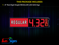Gas Price LED Sign 8 Inch REGULAR - Red LEDs with 3 Large Digits and fraction digits - Lighted Section to the left
